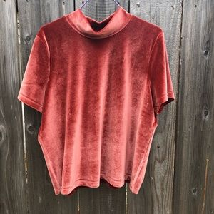 Madewell Mock Turtle Velvet Short Sleeved Top